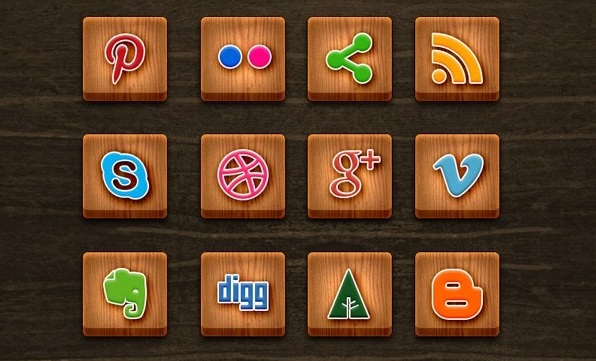 Wood Textured Social Media Icons