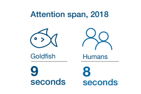 Концентрация внимания у человека всего 8 секунд