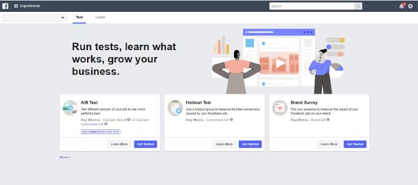 Facebook обновил Ads Manager. В сервисе появился новый раздел «Эксперименты» (Experiments), в котором будут представлены тесты, проводимые в аккаунте