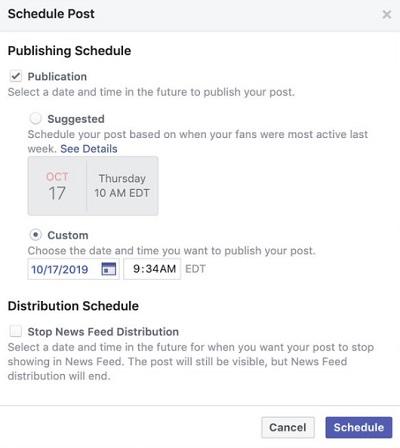 В соцсети Facebook появилась функция с рекомендациями по времени для публикации поста, когда аудитория страницы наиболее активна