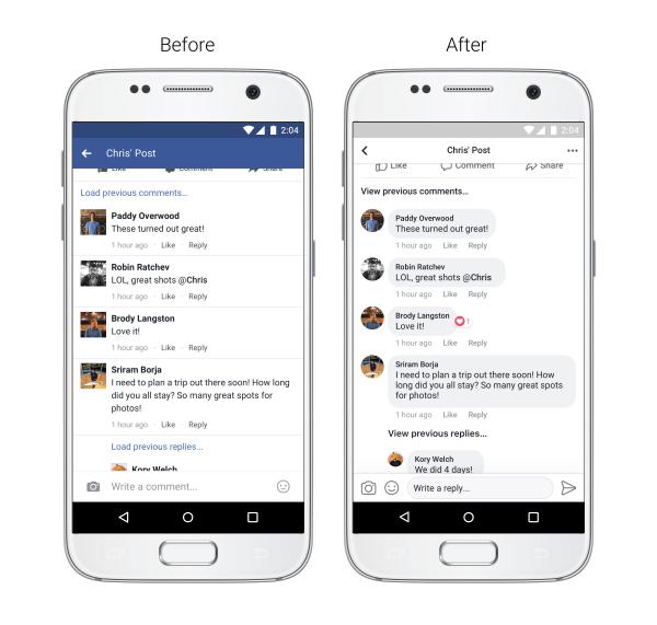 Компания фейсбук обновила дизайн мобильного приложения