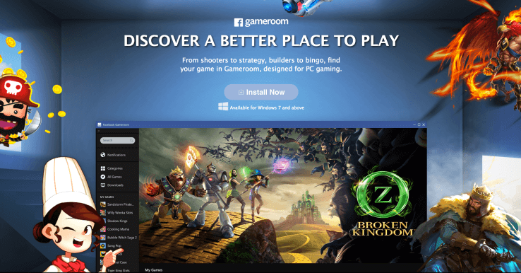 Фейсбук запустила игровую платформу Gameroom